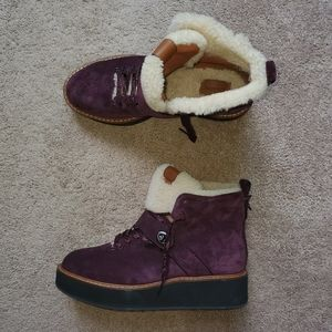 Coach leather purple winter shoes size 8